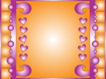 Fond orange et blanc avec les coeurs pourpres et les boucles illustration de vecteur