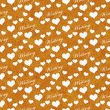 Fond orange et blanc de répétition de modèle de tuile d'écriture d'amour d'I Photos libres de droits