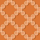 Fond orange géométrique sans couture modèle du cercle 3d illustration libre de droits