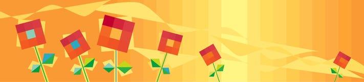 Fond orange horizontal avec les fleurs rouges Photographie stock libre de droits