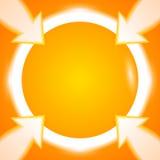 Fond orange lumineux de flèches rondes de cadre Photographie stock libre de droits