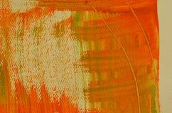 Fond orange multicouche peint à la main avec des éraflures Images libres de droits