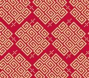 Fond oriental traditionnel chinois d'ornement, modèle d'or rouge de nuages illustration stock