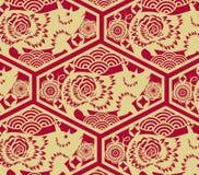 Fond oriental traditionnel chinois d'ornement, modèle d'or rouge de nuages illustration de vecteur