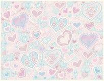Fond original de forme de coeur de dessin de main dans des couleurs en pastel à illustration stock
