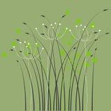 Fond, ornement, lames et fleurs floraux Images stock