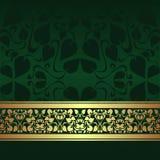 Fond ornemental vert-foncé avec le ruban d'or. Photographie stock libre de droits