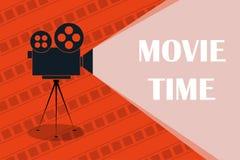 Fond ou bannière de cinéma Heure de projection du film Billet de film appareil-photo de cinéma illustration libre de droits