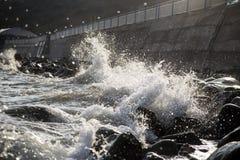 Fond ou papier peint avec le jet de mer La Mer Noire crimea photo stock