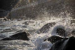 Fond ou papier peint avec le jet de mer La Mer Noire crimea photographie stock