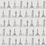 Fond ou papier peint sans couture avec des vacances, le voyage, des attractions et des endroits célèbres Images stock