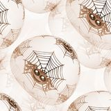 Fond ou texture sans couture avec les araignées et la toile d'araignée dans le brun Photos libres de droits