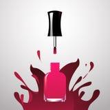 Fond ouvert rose de peinture d'éclaboussure d'iwith de bouteille de vernis à ongles Photographie stock libre de droits
