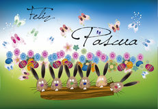 Fond Pâques (texte heureux de Pâques) Illustration Libre de Droits