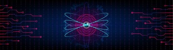 Fond panoramique futuriste d'atome de HUD avec des électrons, metalli illustration stock
