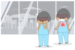 Fond patient dans le b?timent d'h?pital La pollution atmosph?rique affecte l'appareil respiratoire et affecte les yeux style plat illustration libre de droits
