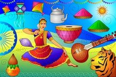 Fond patriotique d'Inde montrant la culture et l'art divers Image libre de droits