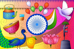 Fond patriotique d'Inde montrant la culture et l'art divers Photographie stock libre de droits