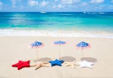 Fond patriotique des Etats-Unis avec des étoiles de mer Image libre de droits