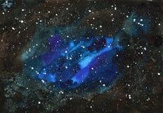 Fond peint à la main abstrait d'aquarelle de l'espace Texture de ciel nocturne Images libres de droits