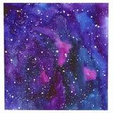 Fond peint à la main d'aquarelle d'abrégé sur carré l'espace Texture de ciel nocturne Photos libres de droits