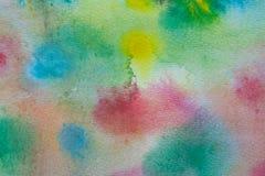 Fond peint à la main d'aquarelle multicolore Texture et fond acryliques abstraits pour des concepteurs Images libres de droits