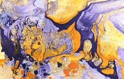 Fond peint à la main de marbre abstrait dans le style d'art moderne avec l'encre coulant librement liquide et la technique acryli illustration stock