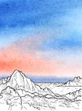 Fond peint par aquarelle avec la vue panoramique à l'encre noire illustration stock