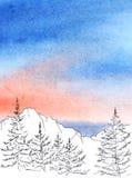 Fond peint par aquarelle avec la vue panoramique à l'encre noire illustration libre de droits