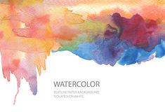 Fond peint par tache abstraite d'aquarelle Donnez au papier une consistance rugueuse Isolant Photos stock
