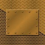 Fond perforé rouillé en métal avec le plat et les rivets Texture grunge métallique Photos stock