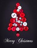 Fond peu commun de Noël d'arbre de boutons de conception d'arbre de Noël, blancs et rouges, Images libres de droits