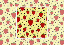 Fond plat avec la fraise et la myrtille Dirigez le modèle sans couture avec l'exemple comment employer en conception et décor Photographie stock libre de droits