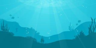 Fond plat de bande dessinée sous-marine avec la silhouette de poissons, algue, corail Vie marine d'océan, conception mignonne illustration libre de droits
