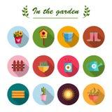Fond plat de blanc d'illustration d'icônes de jardin Photographie stock