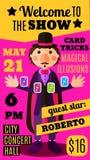 Fond plat de cirque avec le magicien faisant le tour de carte illustration de vecteur