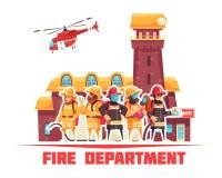 Fond plat de corps de sapeurs-pompiers illustration libre de droits