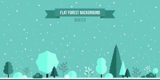 Fond plat de forêt d'hiver Illustration Stock