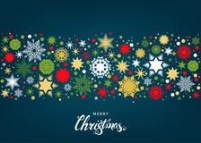 Fond plat de Joyeux Noël avec des flocons de neige et le deco d'or illustration stock