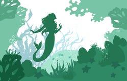 Fond plat de mer de bande dessinée illustration libre de droits