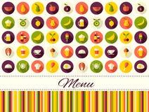 Fond plat de nourriture de style de vecteur sans couture avec l'endroit pour le texte Image libre de droits