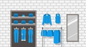 Fond plat intérieur d'intérieur de boutique de vêtements de jeans Photo stock
