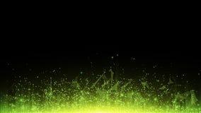 Fond polygonal abstrait des triangles et des points reliés Particules rougeoyantes et rayons de lumière verts Particules lumineus Images libres de droits