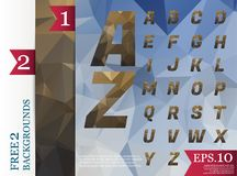 Fond polygonal d'alphabet de Crystal Font géométrique Photo libre de droits
