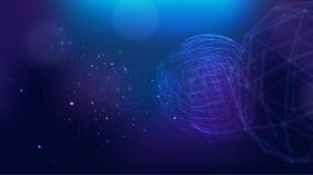 Fond polygonal de la terre futuriste de galaxie d'espace extra-atmosphérique illustration stock