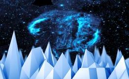 Fond polygonal de mosaïque Bas poly paysage de montagnes Image stock