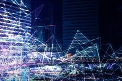 Fond polygonal de ville de nuit Photos libres de droits