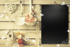 Fond pour écrire le menu ou les salutations de Noël Photos libres de droits