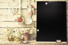Fond pour écrire le menu ou les salutations de Noël Image stock