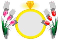 Fond pour des invitations et des cartes avec un cadre d'un anneau et des tulipes Photo stock